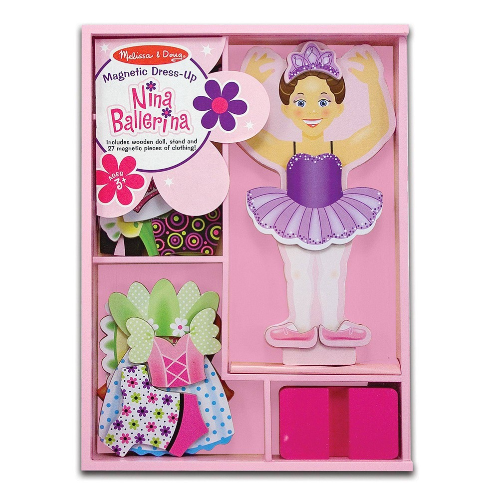 Melissa 38 Doug Deluxe Nina Ballerina Magnetic Dress Up Wooden Doll With 27pc Of Clothing