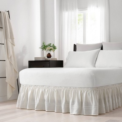 "Ivory Wrap Around Baratta Stitch Ruffled Bed Skirt (Queen/King)(80"" X 60"")- EasyFit"