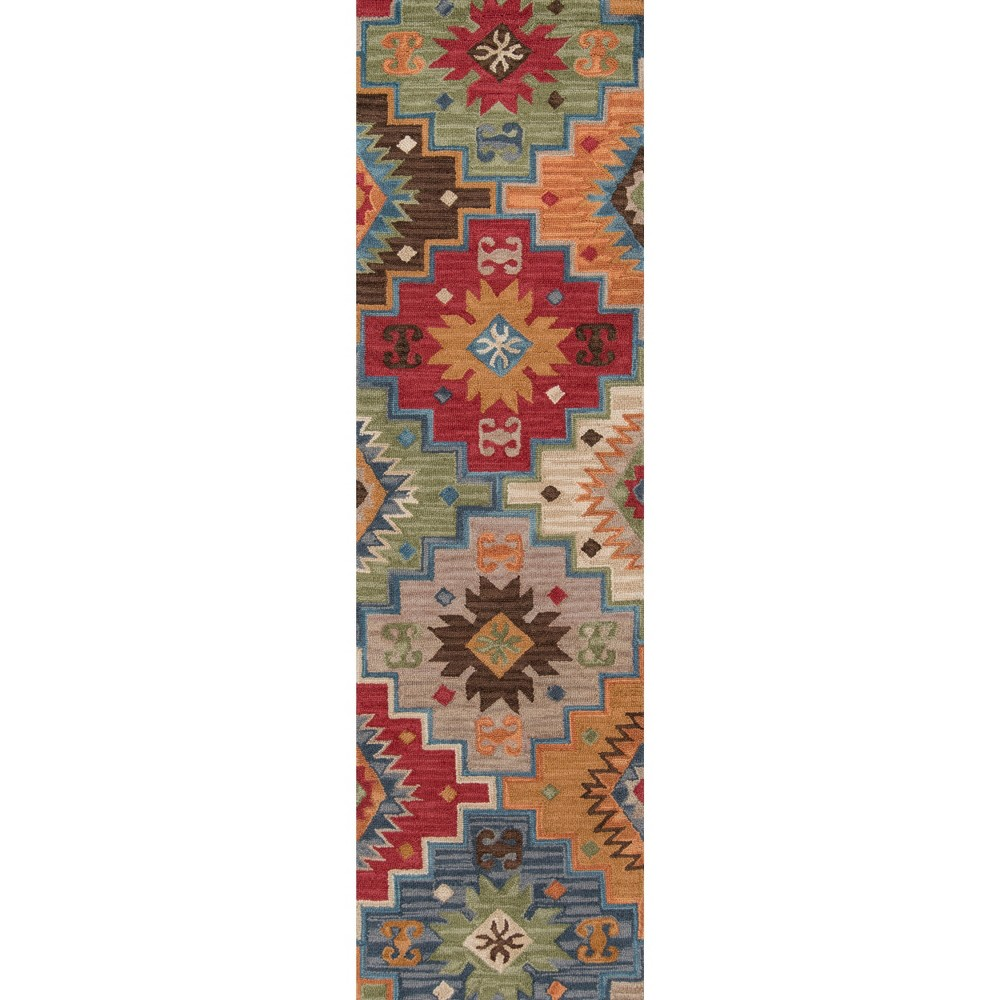Geometric Tufted and Hooked Runner 2'3x8' - Momeni, Multicolored