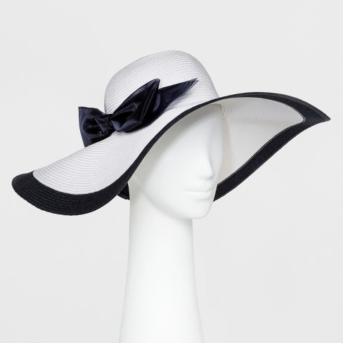 Women s Derby Floppy Hat With Oversized Navy Bow - White   Target 601192ade5c