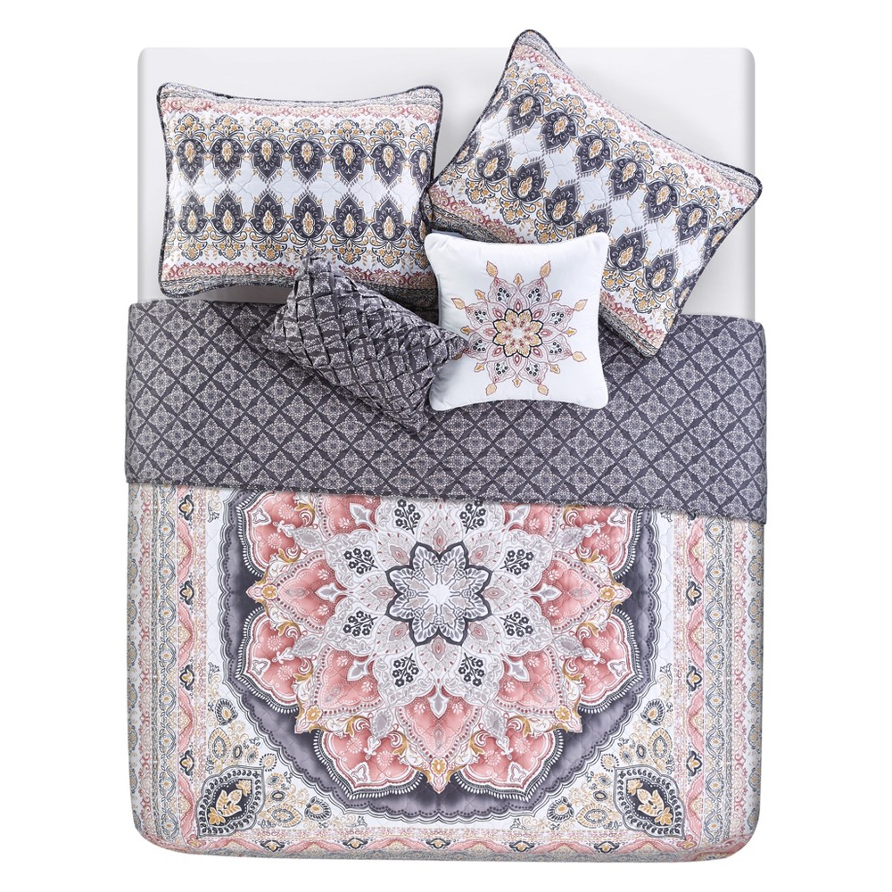 4p Twin Valeria Printed Quilt Set Blush - Vcny Home, Pink