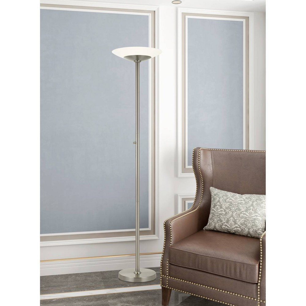 Veria Metal Led Torchiere Brushed Steel (Includes Energy Efficient Light Bulb) - Cal Lighting