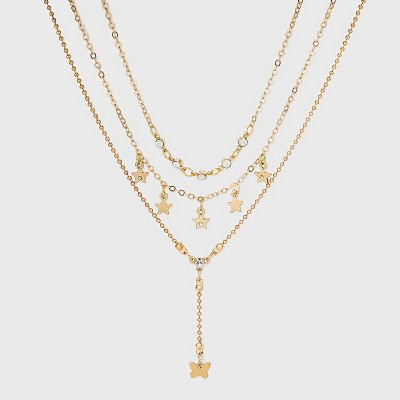 Star and Butterfly Layered Pendant Necklace Set 3pc - Wild Fable™ Gold