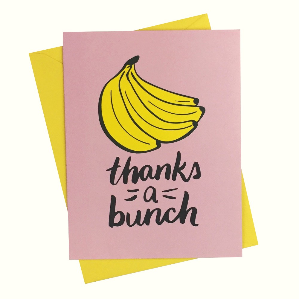 """Image of """"4.25""""""""x5.5"""""""" 10ct """"""""Thanks a Bunch Banana"""""""" Cards - Paper Riot"""""""