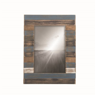 "4"" x 6"" Slatted Wood Picture Frame Blue - Foreside Home and Garden"