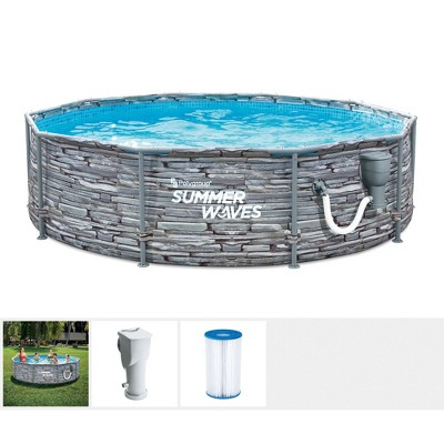 Summer Waves Active 12 Foot x 33 Inch Stone Slate Print Metal Frame Above Ground Swimming Pool Set w/ Filter Pump, Type D Cartridge, and Repair Patch