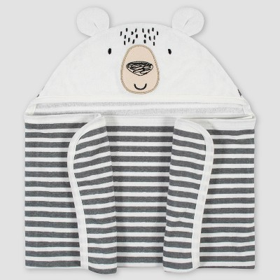 Gerber Baby Boys' Bear Hooded Bath Towel - Cream/Gray