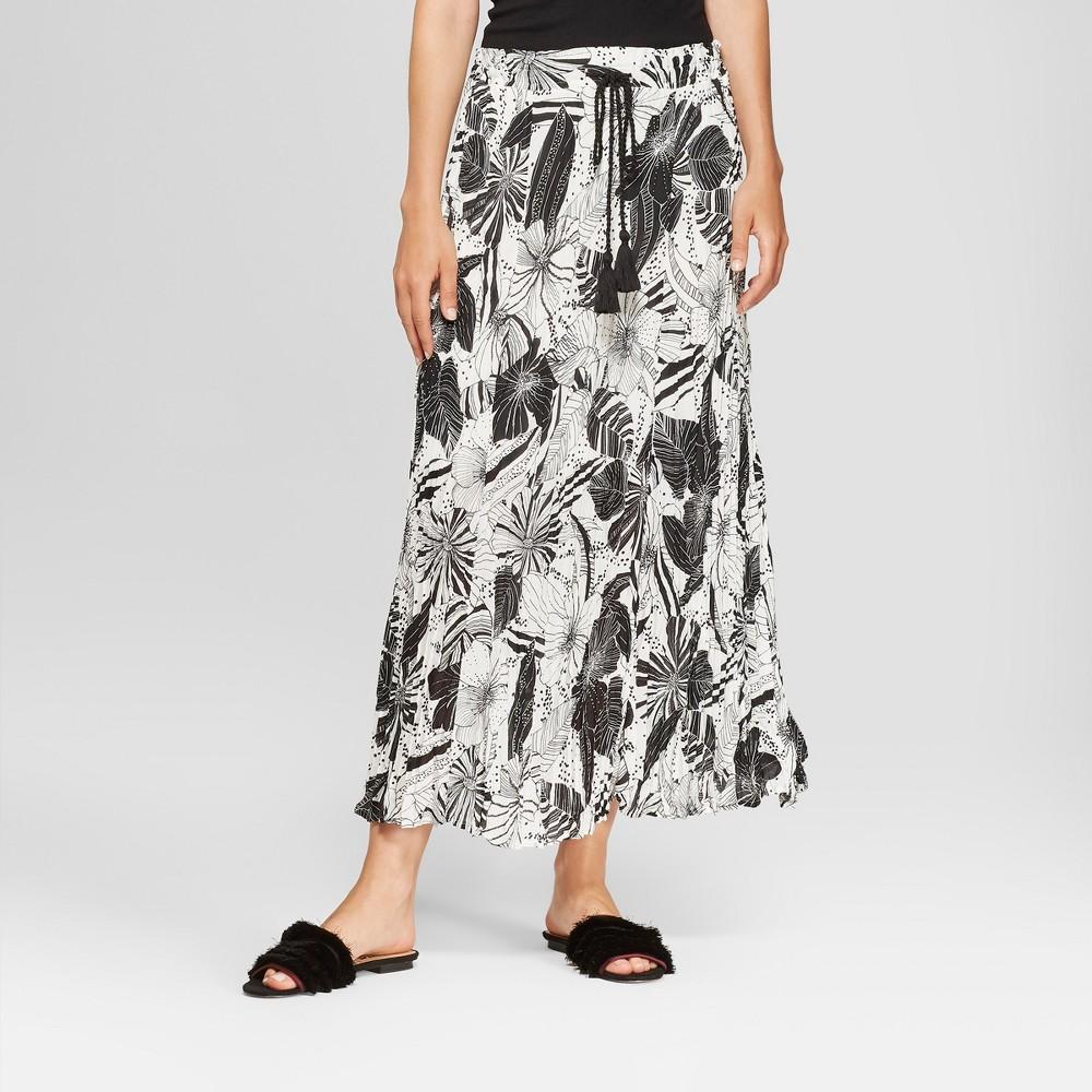 Women's Floral Print Pleated Maxi Skirt - Spenser Jeremy - Black/White S, Black White