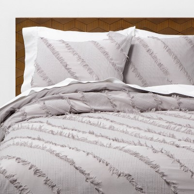 Gray Diagonal Textured Duvet & Sham Set - Opalhouse™