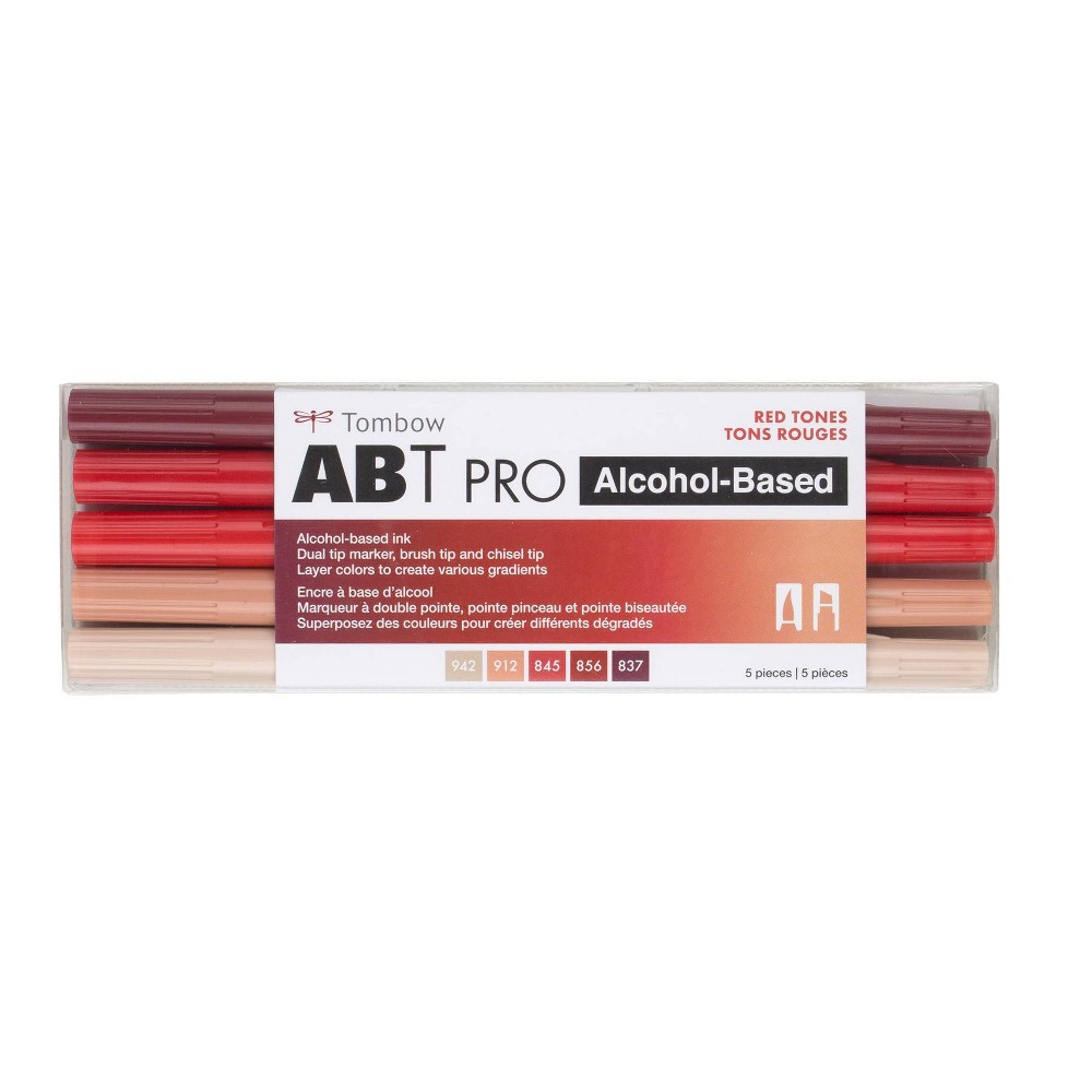 5ct Abt Pro Dual Tip Alcohol Based Art Markers Red Tones Tombow