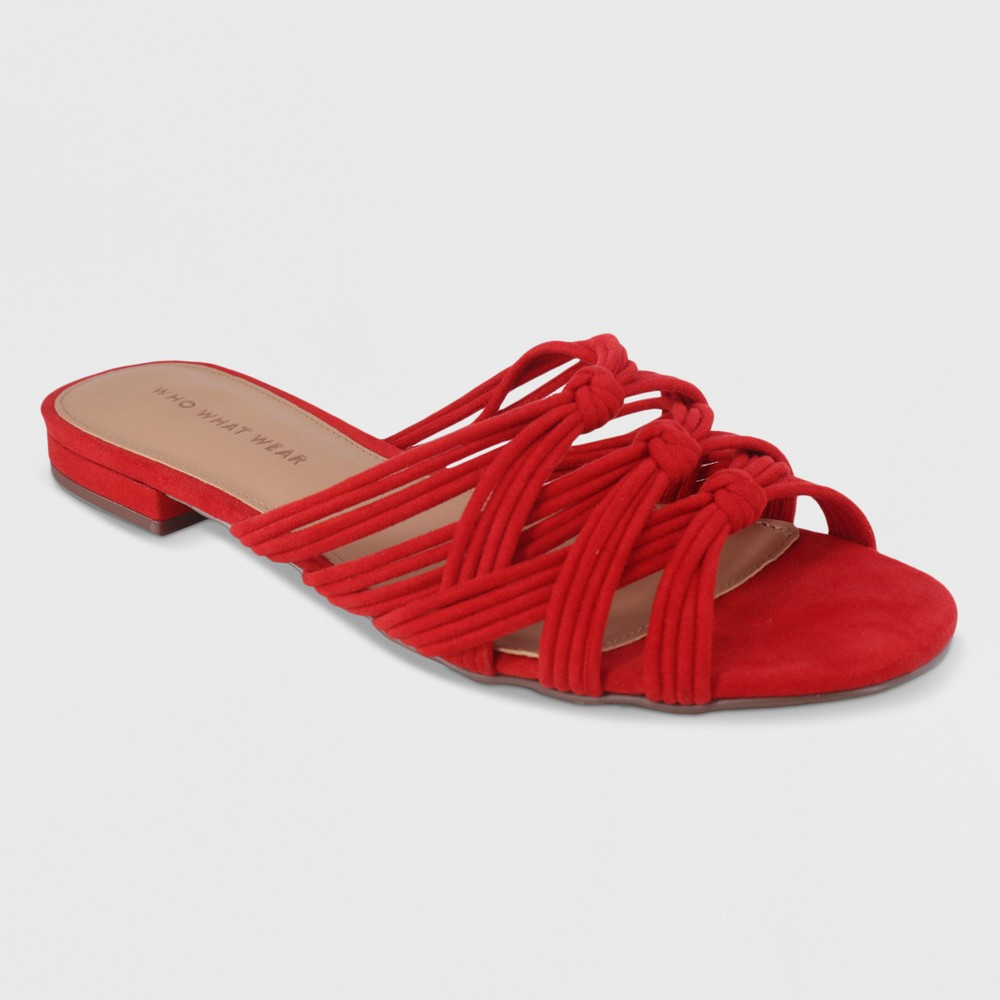 Women's Finley Knotted Slide Sandal - Who What Wear Cherry (Red) 9
