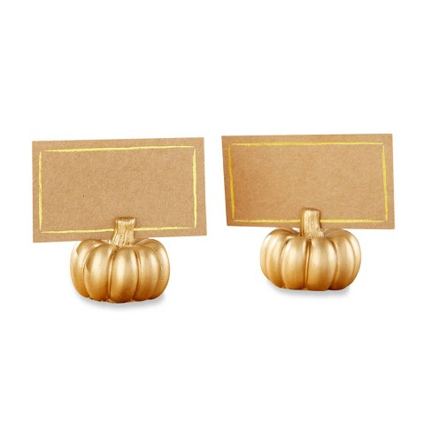 12ct Mini Pumpkin Place Card Holder Gold - image 1 of 4