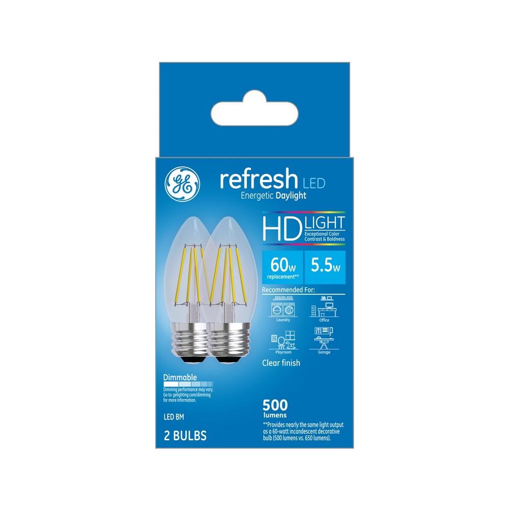 60W Refresh 2pk Deco BM Clear Led Light Bulb White - General Electric