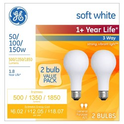 GE 2pk 50/100/150W 3-Way Long Life Incandescent Light Bulb Soft White