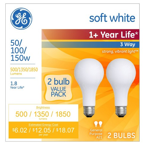 GE 2pk 50/100/150W 3-Way Long Life Incandescent Light Bulb Soft White - image 1 of 3