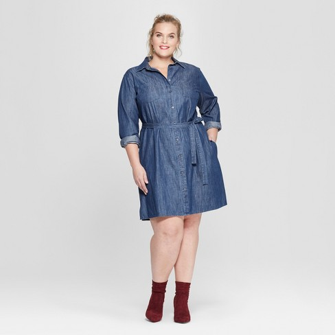 a344649712f Women s Plus Size Denim Shirtdress - Ava   Viv™ Indigo   Target