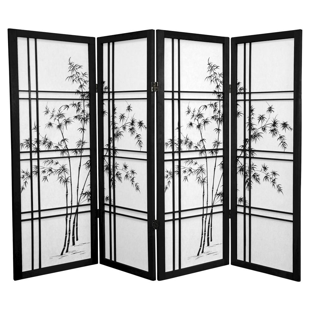 Image of 4 ft. Tall Bamboo Tree Shoji Screen - Black (4 Panels)