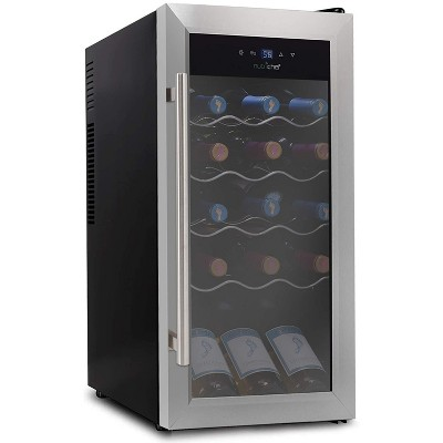 NutriChef Digital Electric 18 Bottle Adjustable Temperature Thermoelectric Freestanding Wine Chiller Cooler Cabinet Fridge, Black