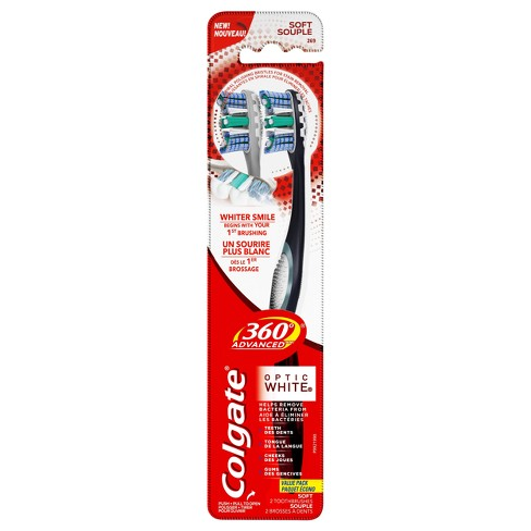 Colgate 360 Advanced Optic White Toothbrush Soft - 2ct - image 1 of 6