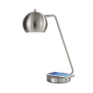 "18"" x 20.5"" Wireless Charging Table Lamp Medium Silver  - Adesso"