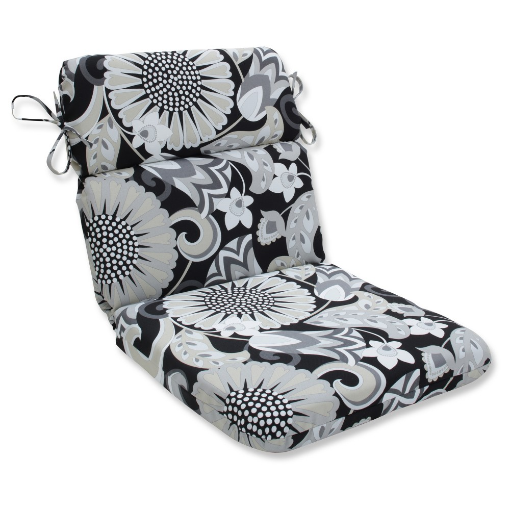 Outdoor/Indoor Sophia Black Rounded Corners Chair Cushion - Pillow Perfect