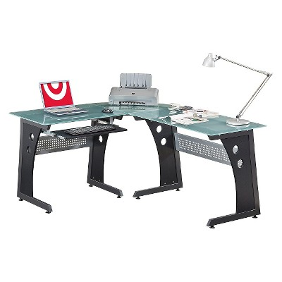 Large L-Shape Desk with Frosted Glass - Techni Mobili