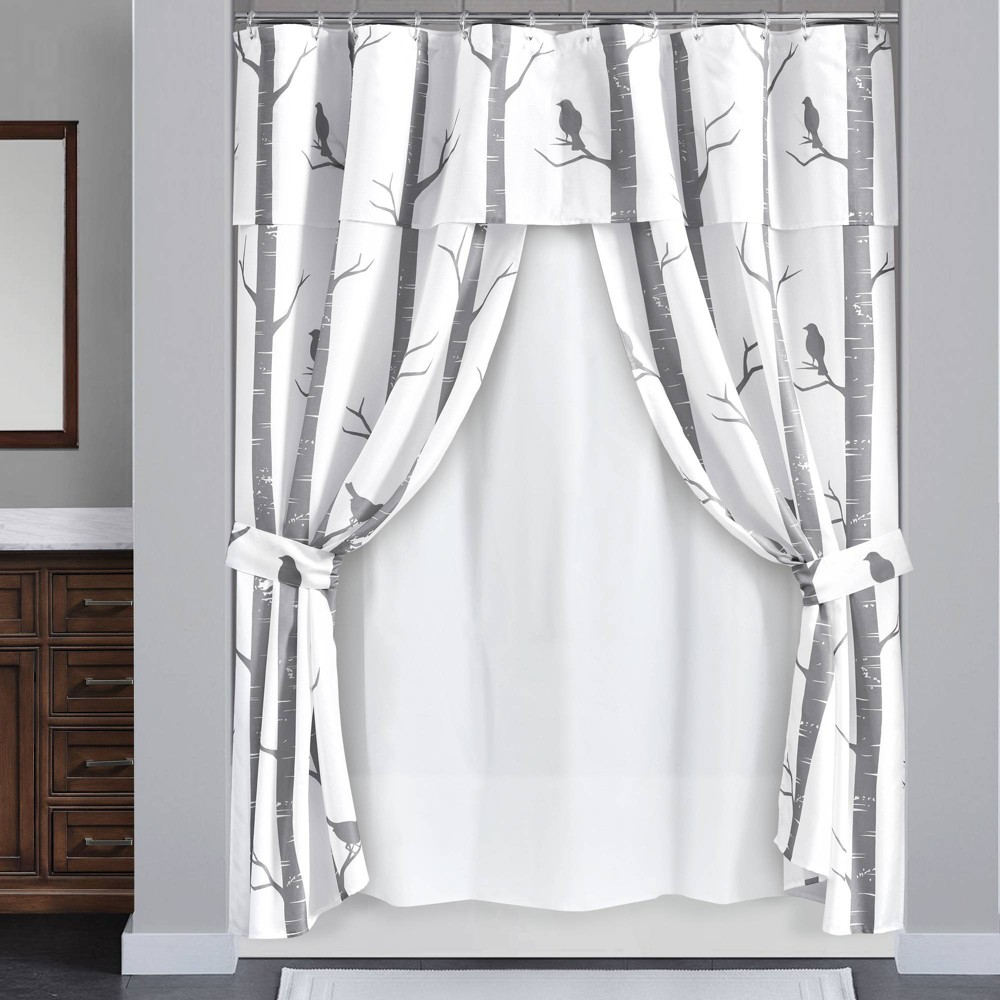Image of 16pc Bird On The Tree Shower Curtain with Peva Lining/Ring Set Gray - Lush Decor