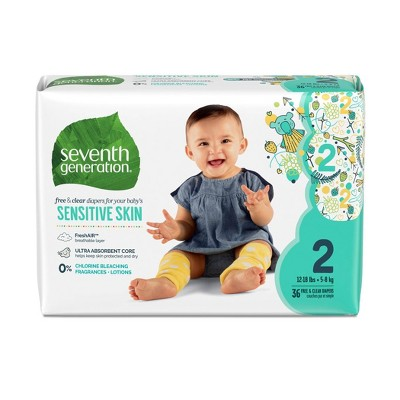 Seventh Generation Free & Clear Disposable Baby Diapers for Sensitive Skin with Animal Prints 2 - 144ct