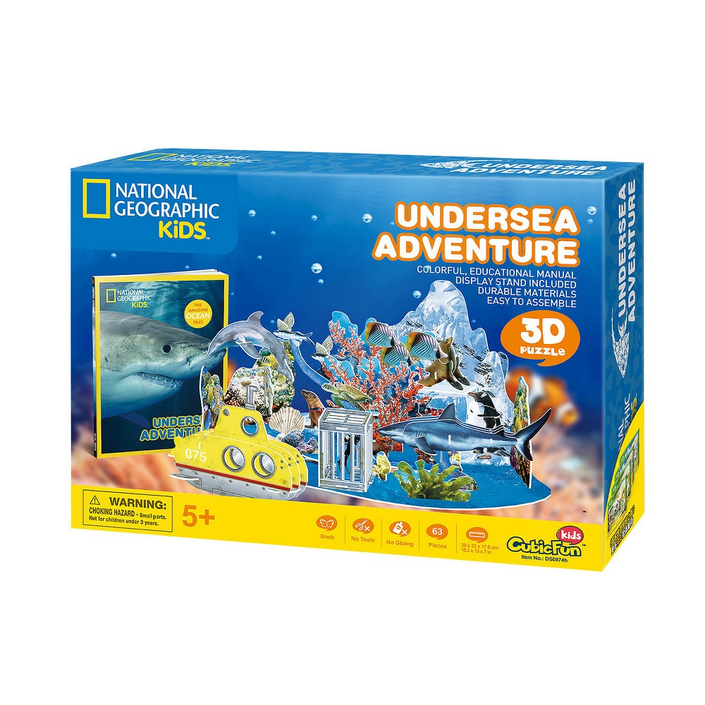 National Geographic Undersea Adventure 63pc 3D Puzzle Fun and educational National Geographic 3D puzzles that provide kids the ability to build one of six different 3D puzzles and then display and play with their creations. Kids can also read about each puzzle theme with an enclosed full color booklet (approximately 30 pages). All puzzles are made of sturdy, quality foam core and include easy to understand instructions. Ages 5 and up. Gender: Unisex.