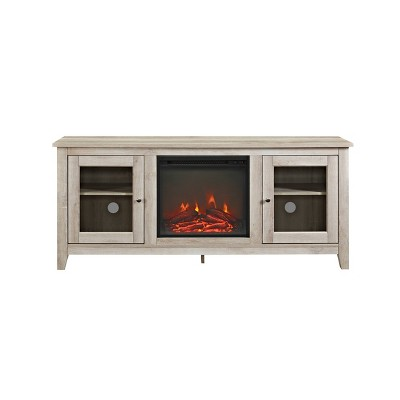 """Cozy Glass Door Fireplace TV Stand for TVs up to 65"""" White Oak - Saracina Home"""