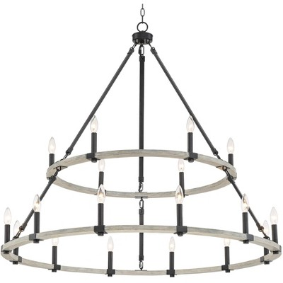 """Franklin Iron Works Black Painted Wood Large Round Chandelier 46 1/4"""" Wide Rustic Farmhouse 2 Tier 18-Light for Dining Room House"""