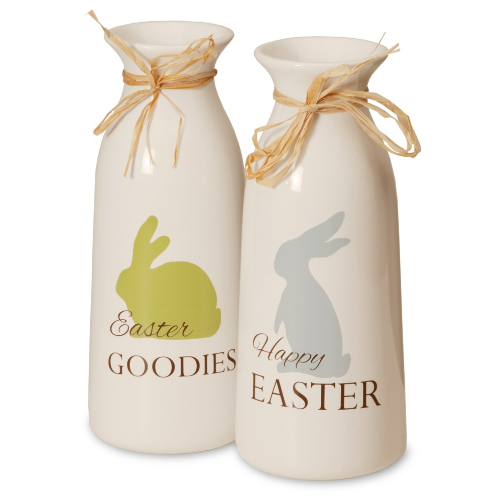 "Image of ""Antique Easter Bunny Milk Bottles White/Green 9"""" 2pk - National Tree Company, White Green Blue"""