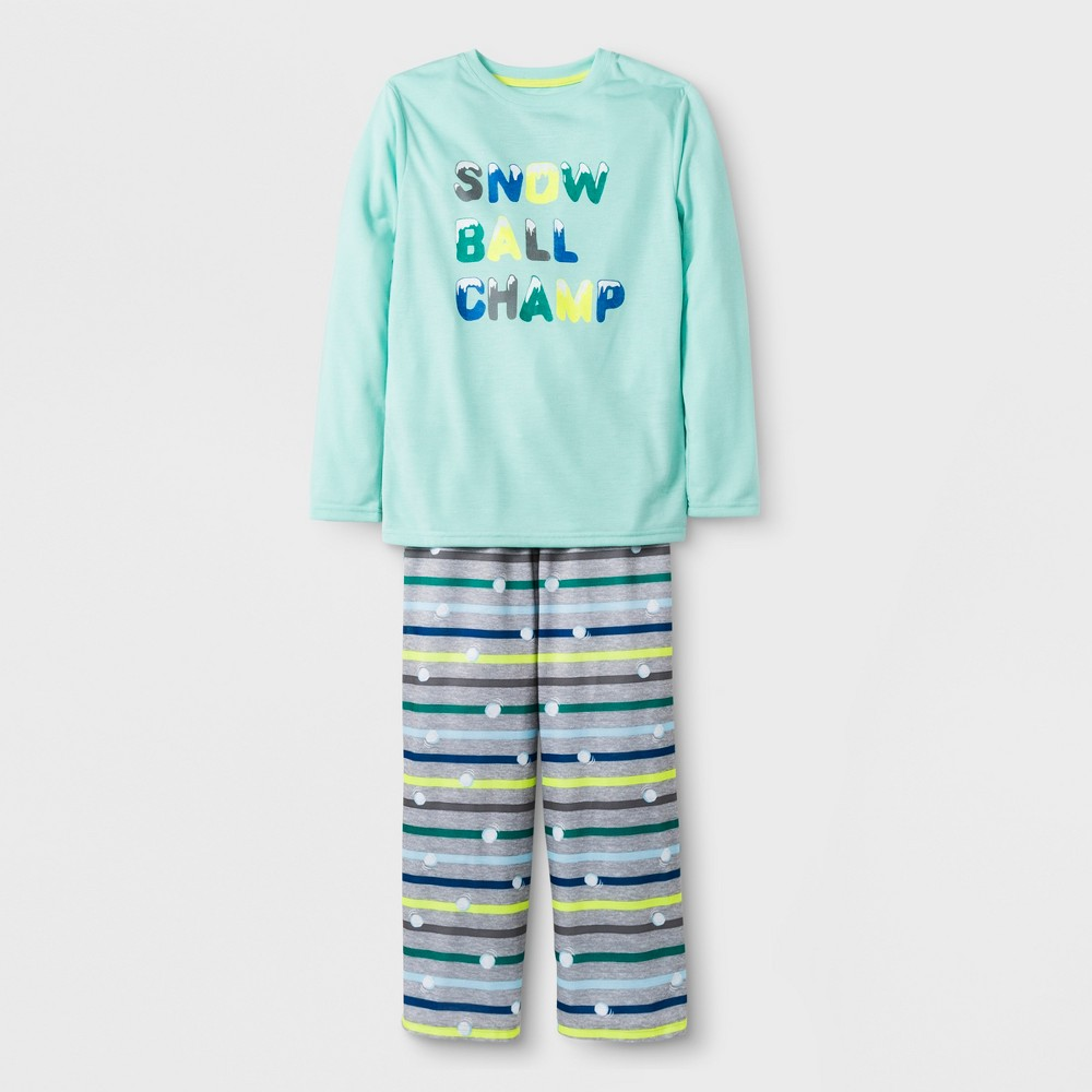 Boys' 2pc Long Sleeve Snow Ball Champ Graphic Pajama Set - Cat & Jack Green XS