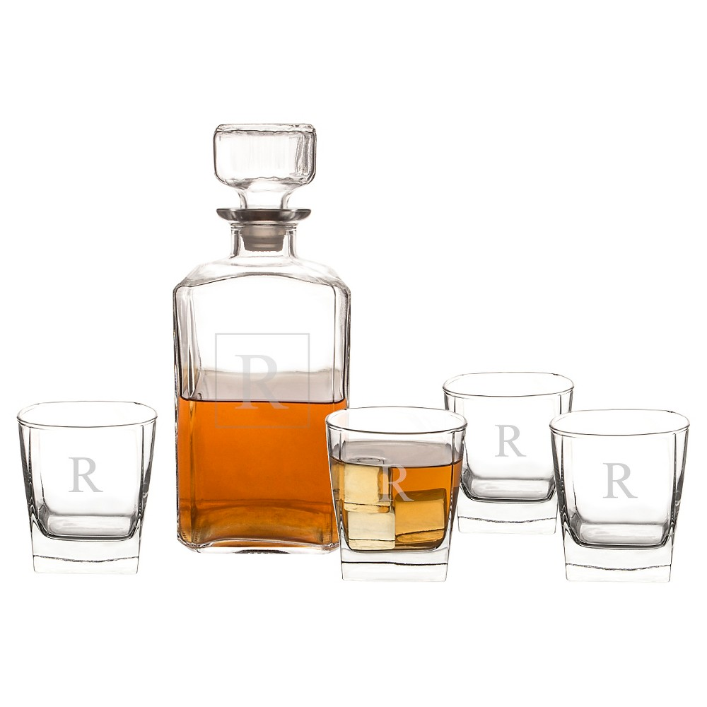 Cathy's Concepts 5pc Monogram Decanter Set R, Clear