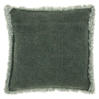 Life Styles Stonewash Fringe Oversize Square Throw Pillow Dark Green - Mina Victory
