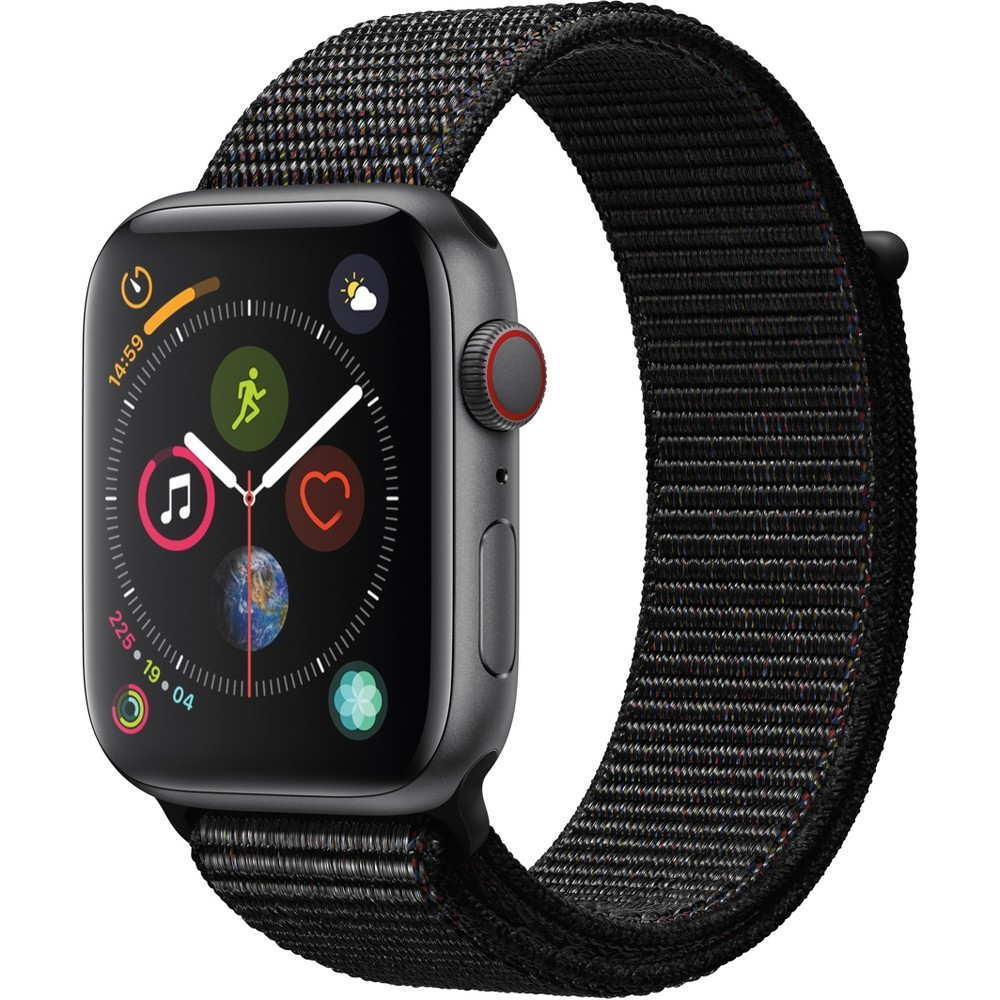Apple Watch Series 4 Gps & Cellular 44mm Space Gray Aluminum Case with Sport Loop - Black, Black Sport Loop Fundamentally redesigned and reengineered. The largest Apple Watch display yet. Built-in electrical heart sensor. New Digital Crown with haptic feedback. Low and high heart rate notifications. Fall detection and Emergency Sos. New Breathe watch faces. Automatic workout detection. New yoga and hiking workouts. Advanced features for runners like cadence and pace alerts. New head-to-head competitions. Activity sharing with friends. Personalized coaching. Monthly challenges and achievement awards. Built-in cellular lets you use Walkie-Talkie, make phone calls, and send messages. Stream Apple Music and Apple Podcasts. And use Siri in all-new ways—even while you're away from your phone. With Apple Watch Series 4, you can do it all with just your watch. Selection may vary; see a sales associate for available models. Apple Watch Series 4 (Gps + Cellular) requires an iPhone 6 or later with iOS 12 or later. Wireless service plan required for cellular service. Apple Watch and iPhone service provider must be the same. Not all service providers support enterprise accounts; check with your employer and service provider. Roaming is not available outside your carrier network coverage area. Contact your service provider for more details. Apple Music requires a subscription. Compared with the previous generation. Iso standard 22810:2010. Appropriate for shallow-water activities like swimming. Submersion below shallow depth and high-velocity water activities not recommended. Color: Black Sport Loop.
