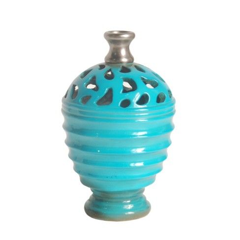 """Northlight 9.25"""" Shiny Cutout Outdoor Patio Bottle Vase - Blue/Gray - image 1 of 1"""