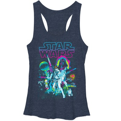 Women's Star Wars Neon Collage Racerback Tank Top