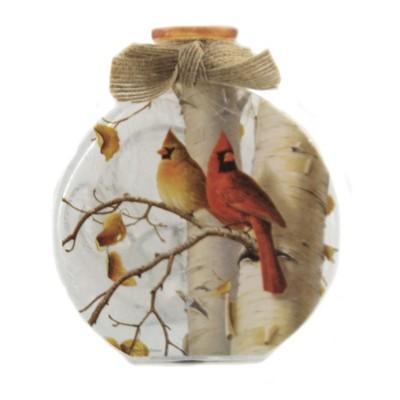 "Stony Creek 4.5"" Fall Cardinals Pre-Lit Round Sm Jar Ribbon Autumn  -  Novelty Sculpture Lights"