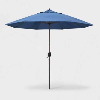 9' Aluminum Auto Tilt Crank Lift Patio Umbrella - California Umbrella