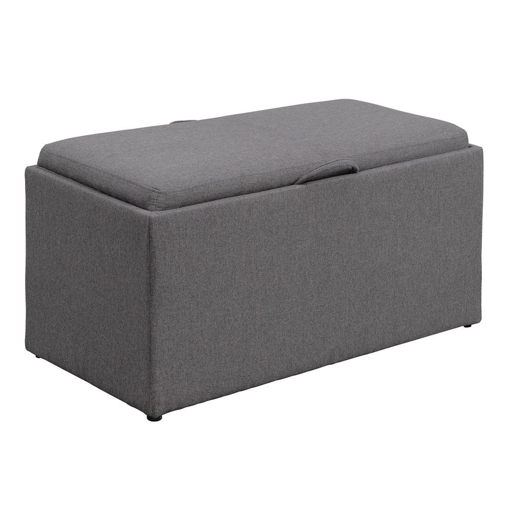 Designs4Comfort Sheridan Storage Bench With 2 Side Ottomans Soft Gray - Johar Furniture