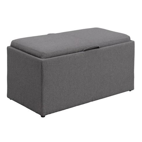 Designs4comfort Sheridan Storage Bench With 2 Side Ottomans Soft Gray Johar Furniture