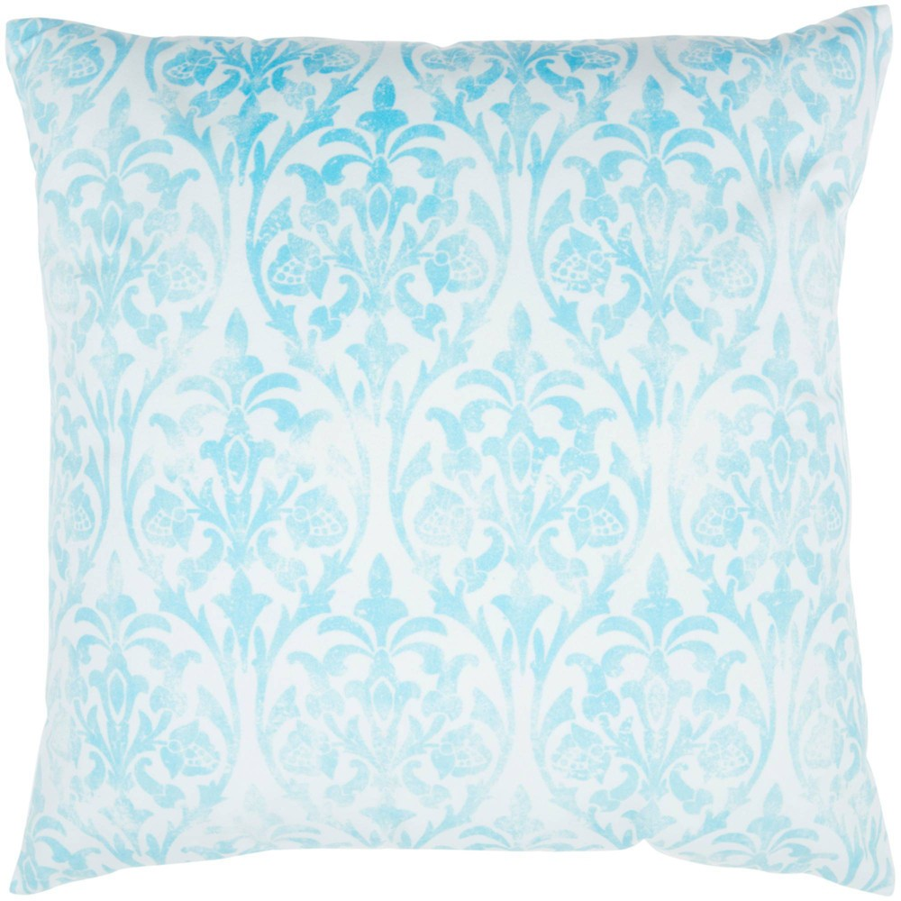 Image of Life Styles Faded Damask Oversize Square Throw Pillow Aqua - Nourison