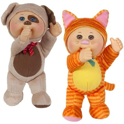"""Jazwares Cabbage Patch Kids Cuties Collection, Parker Puppy and Kallie Kitty - 9"""", Set of 2"""