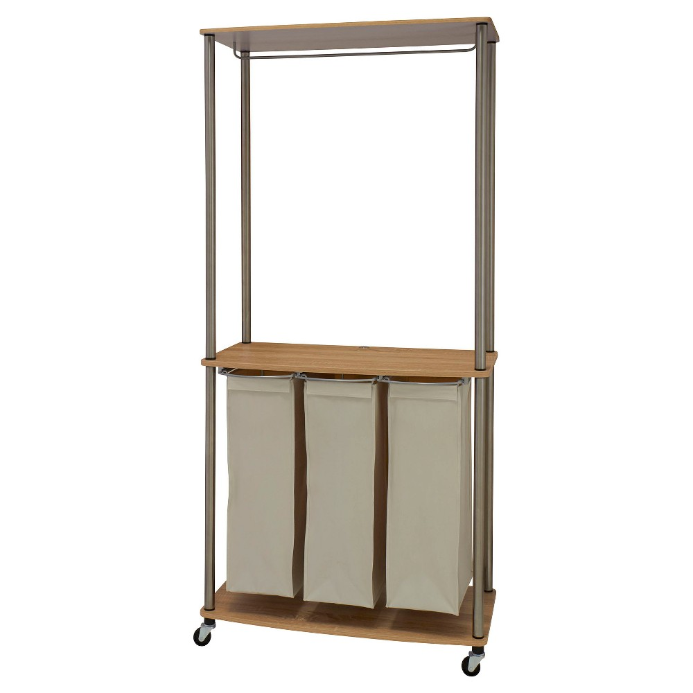 Household Essentials - Rolling Laundry Sorter Center with Hanging Rod - Natural/Light Ash, Light Off-White