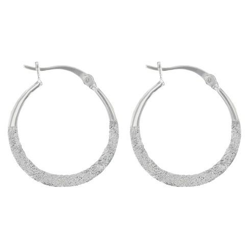 Hoop Earrings Sterling Sandblast Hoop with Click top - Silver - image 1 of 1