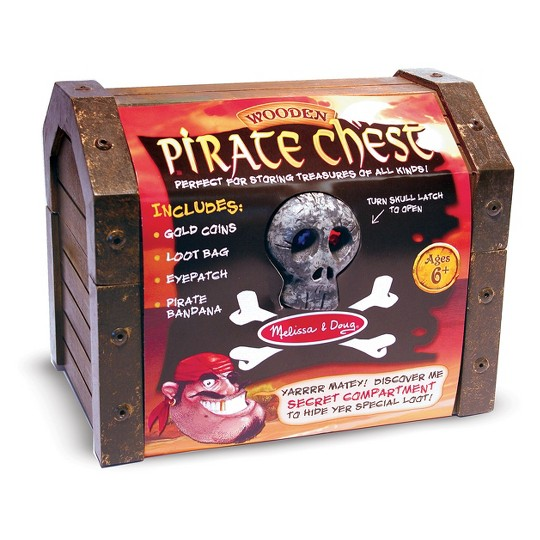 Melissa & Doug Wooden Pirate Chest Pretend Play Set image number null