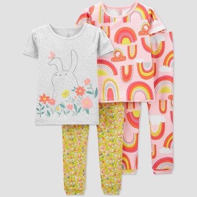 Toddler Girls' 4pc Bunny/Rainbow Pajama Set - Just One You® made by carter's White/Pink/Yellow