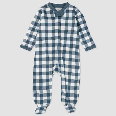 Honest Baby Boys' Organic Cotton Painted Buffalo Sleep N' Play - Navy 3-6M