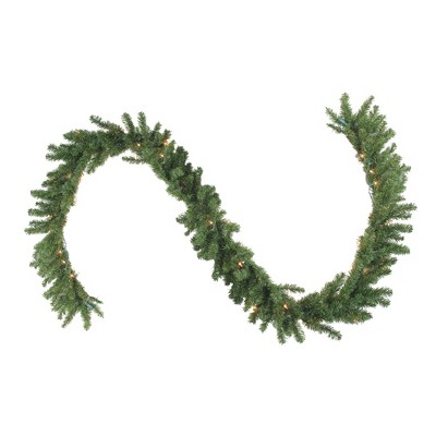 "Northlight 9' x 12"" Prelit Canadian Green Pine Artificial Christmas Garland - Clear Lights"